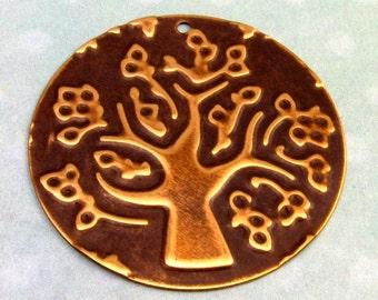 Tree Of Life Embossed Brass Round Pendant E64