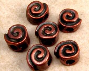 Mykonos Bronze Patina Metal Spiral Bead, 10 MM, 6 Pieces M185