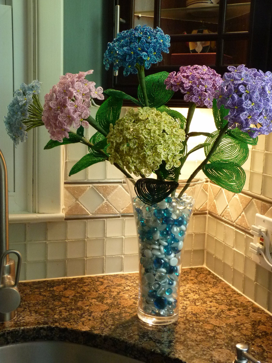 6 Stems Of Hydrangeas Free Shipping French Beaded Flower