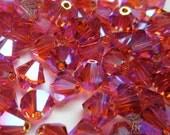 DESTASH 60 pcs Swarovski Crystal 5301/5328 6mm Padparadscha AB2x Bicone Beads Wholesale