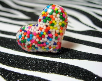 Rainbow Resin Heart Ring, Sprinkles Candy, Glitter Kawaii Jewelry