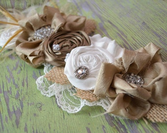 Burlap wedding decor/ wedding dress sash / custom bridal sash / burlap wedding / outdoor wedding / wedding sash belt
