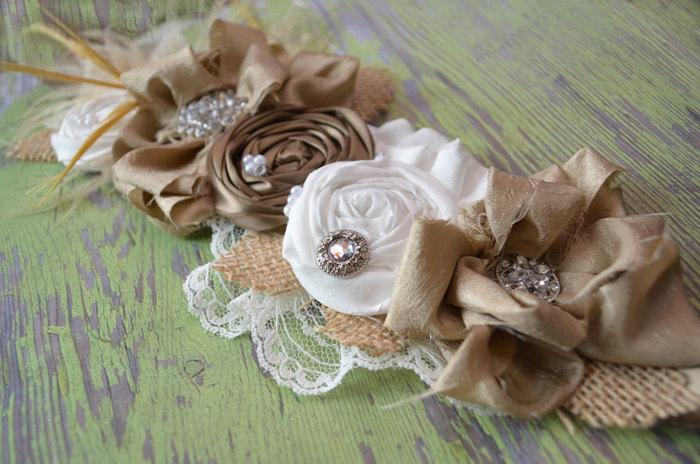 Unique Wedding Dress Sashes Belts: Burlap Wedding Decor/ Wedding Dress Sash / Custom Bridal Sash