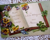 Vintage Postcard, Antique Postcard, Pansy, Happy Birthday,  Flower, Floral, Embossed, paper ephemera
