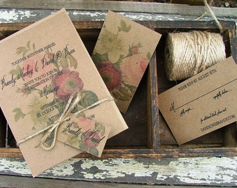 Beautiful Vintage Botanical Wedding Invitation - rose and dahlia garden wedding