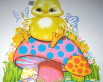 Vintage 1970s Die Cut Cardboard Easter Decoration with Yellow Chick on Colorful Mushrooms Butterflies by Beistle