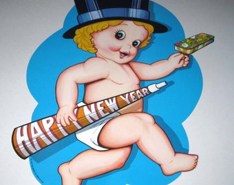 Vintage 1970s Large Blue Happy New Year Die Cut Sign with Baby Boy by Beistle