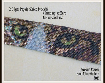 Bead Pattern Cat Eyes Beaded Bracelet peyote stitch tutorial instructions - Hannah Rosner