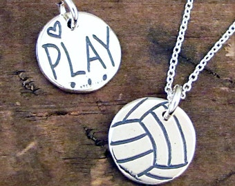 Volleyball Necklace - Play Volleyball Jewelry - Sterling Silver Volleyball Charm