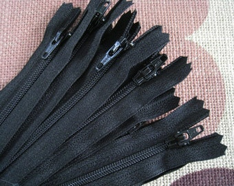 6 Inch Black YKK Zipper - Set of 24 pcs