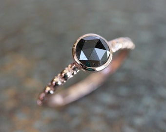 Black Diamond Rose Cut and Hand Carved 14k Rose Gold Band and Modern Vintage Design