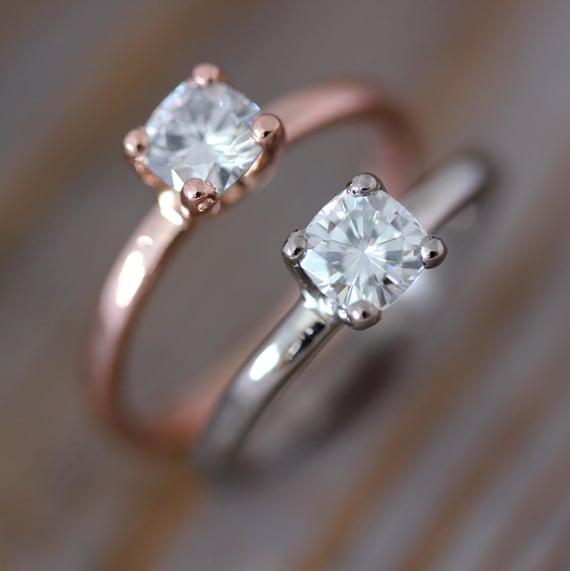 Rose Gold Engagement Ring, Moissanite Engagement Ring, Diamond Alternative, Clear Stone Engagement Rings