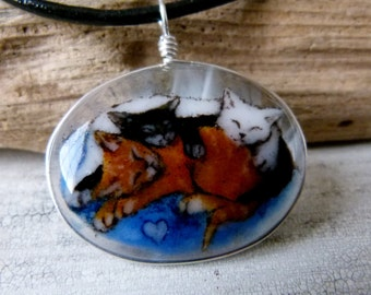 Kittens - Fused glass pendant - cat Jewelry - sleeping kittens necklace