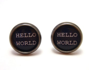 Computer Programmer Studs - Hello World code monkey post earrings - Geekery Geek Chic Techie - SMALL 10mm