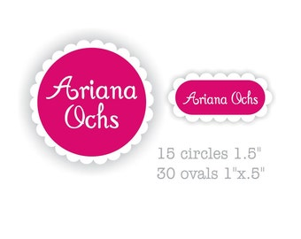 Full Name Set Vinyl Labels - Ovals & Circles with Ruffle Edge for Girls
