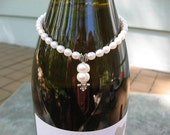 Wine Bottle Charm  - Sterling Silver - Freshwater Pearls