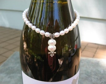 Sale - Free US shipping - Wine Bottle Charm  - Sterling Silver - Freshwater Pearls