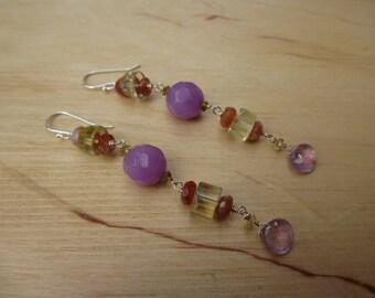 Insouciant Studios Fruity Earrings Amethyst and Oregon Sunstone