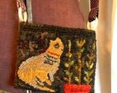 Scrap Cat Hooked Purse - Linen or Paper Pattern -from Notforgotten Farm