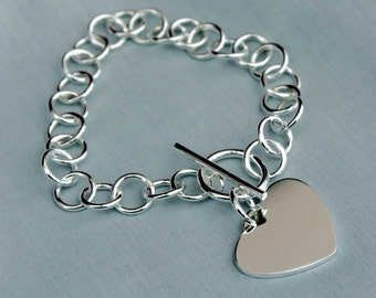 Links with Heart Sterling Silver Bracelet