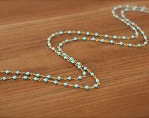 Turquoise Necklace, Sleeping Beauty Turquoise Long Necklace, Tiny turquoise necklace, gold long necklace