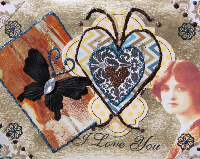 Collage Art Folded Greeting Card, Valentine, I love you, 3D, Size 5 x 7, Blank Inside