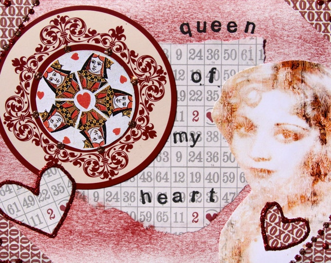 Altered Art Folded Greeting Card, I love you, valentine, Size 5 x 7, 3D, Blank Inside, Queen of my Heart