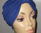 FREE SHIP USA Royal Blue  Knit Turban, Chemo Hat, Snood, Womens Hat