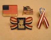Vintage USA Patriotic Lapel Pins, Set of 4, Enamel US Flags in 2 different sizes, Lady Liberty 1986 and Pretty Enamel Ribbon
