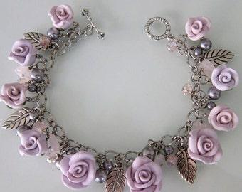 Lavender Rose Charm Bracelet, Handmade Polymer Clay Rose Bracelet, Purple Rose Bracelet, Purple Jewelry, Purple Bridesmaid Charm Bracelet