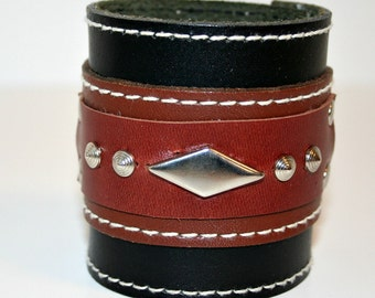 Wide Recycled Black and Brown Leather Cuff OOAK