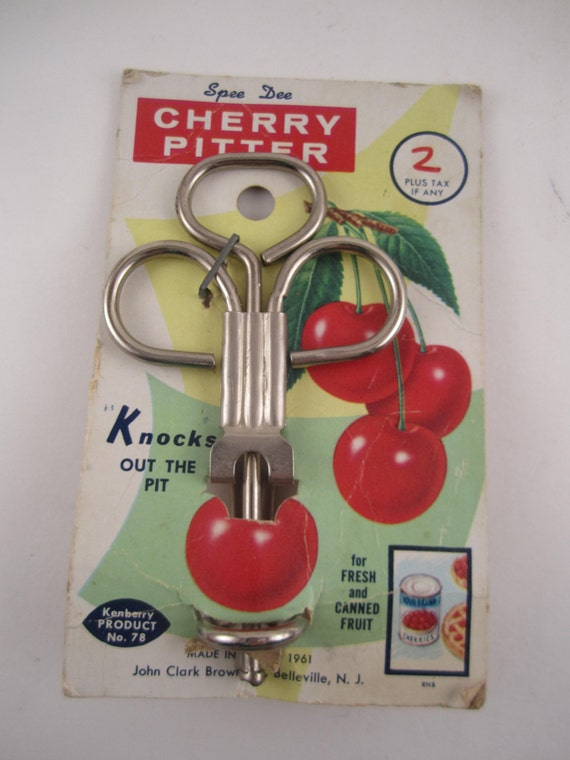 Vintage Kenberry Cherry Pitter Red Kitchen Utensil Brand nEw