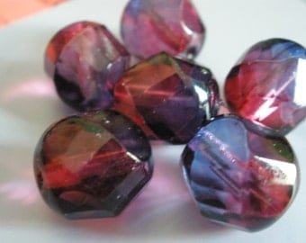 Vintage Glass Beads (2) Magenta and Lilac Deco Faceted Beads