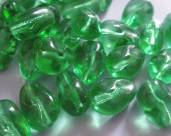 Vintage Glass Beads (10) Bottle Green German Drop Shaped Beads