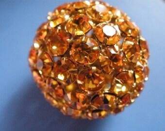 Vintage Glass Rhinestone Disco Ball (1)(26mm) Amber Crystal Bead