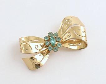 Vintage Brooch Coro Bow Pin Aqua Rhinestones Signed
