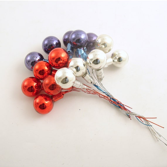 Vintage Glass Picks Red Blue & Silver 4th of July Decoration