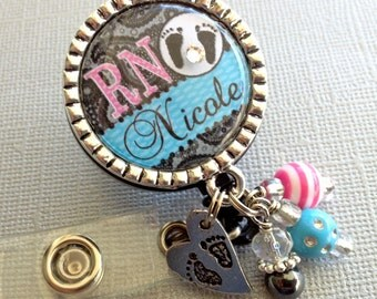 PERSONALIZED NICU rn nurse ID badge reel - labor and delivery, ob, baby footprints, postpartum, medical office, obstetrician, doctor, nurse