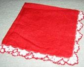 Vintage Red Valentine Hankie Handkerchief w Crochet edging - sherryi
