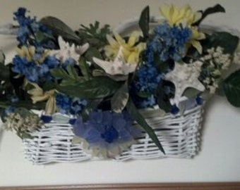 Star Fish and Hydrangea Silk Floral Basket with Seashells and Glass