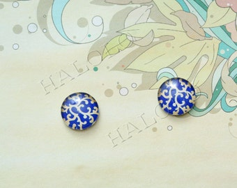 Sale - 10pcs handmade blue texture round clear glass dome cabochons 12mm (12-9809)