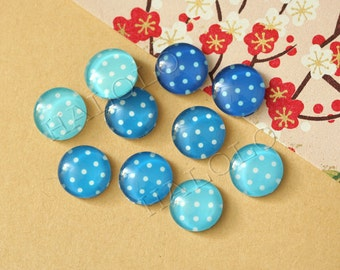 10pcs handmade assorted color of ocean blue round clear glass dome cabochons 12mm (12-0599)