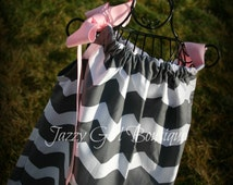 Girls Pillowcase Dress Grey Chevron Stripe with Large Light Pink Bow Over One Shoulder  Sz 6mo, 12mo, 18mo, 2T, 3T, 4T, and 5