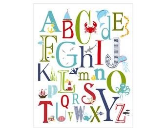Children's Wall Art / Nursery Decor Nautical Alphabet Poster - ABC alphabet typography Poster Print