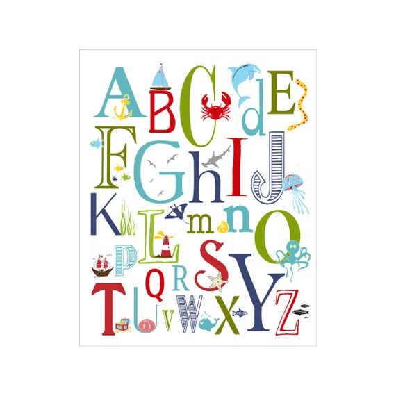 Children S Wall Art Nursery Decor Nautical Alphabet