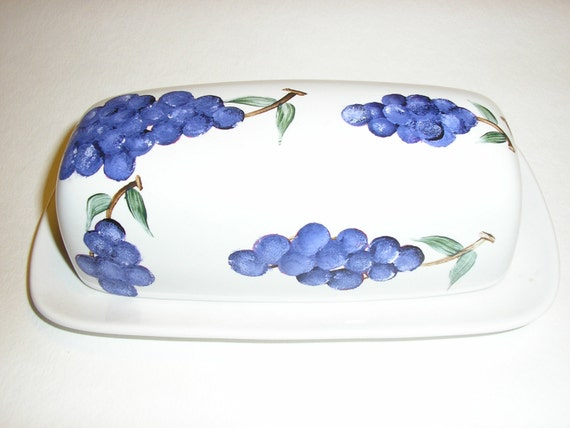 Purple Grapes Butter Dish Hand Painted Grapes on White Butter Dish