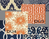 Custom Orange or Navy/Indigo Drapes - Lined (Pick the fabric)