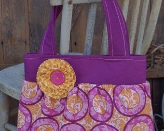 """The """"BETH""""  Bag  in fuschia, purple, pink, orange  fabric with shabby flower accent"""