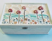 Pink Seaside Garden - Mosaic Jewelry Box - One-of-a-Kind