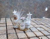 Reserved for Patricia 4 Piece Miniature Angelic Set Enchanted Angel Potion Bottles of Magic, Goodness & Bliss Dollhouse Scale OOAK